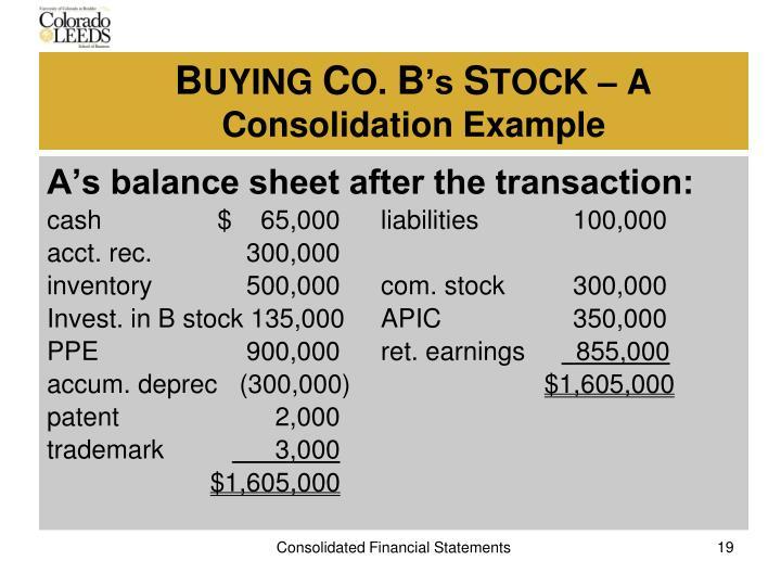 A's balance sheet after the transaction:
