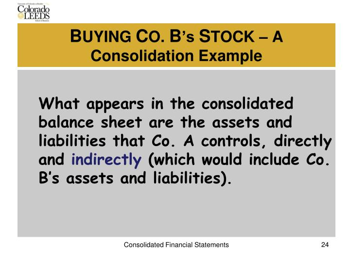 What appears in the consolidated balance sheet are the assets and liabilities that Co. A controls, directly and