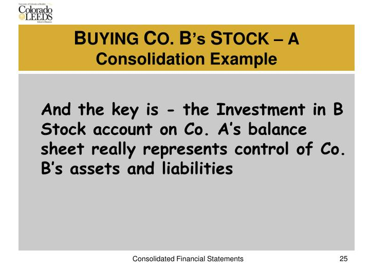 And the key is - the Investment in B Stock account on Co. A's balance sheet really represents control of Co. B's assets and liabilities