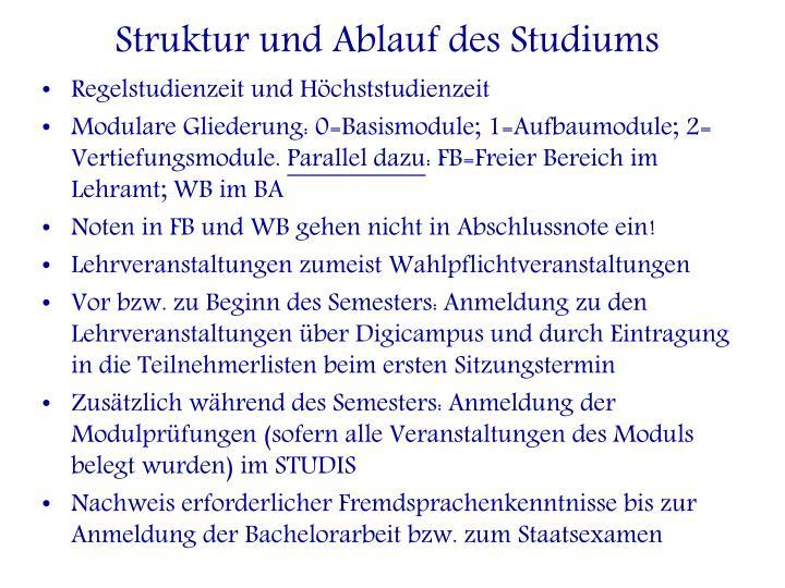 Struktur und Ablauf des Studiums