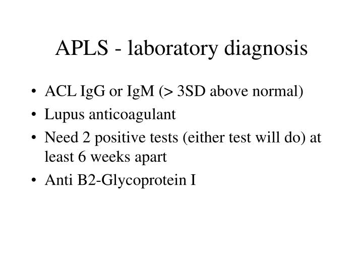 APLS - laboratory diagnosis