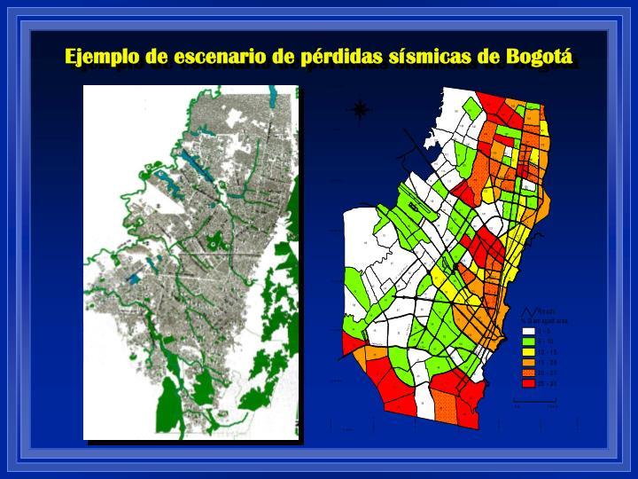 Ejemplo de escenario de pérdidas sísmicas de Bogotá