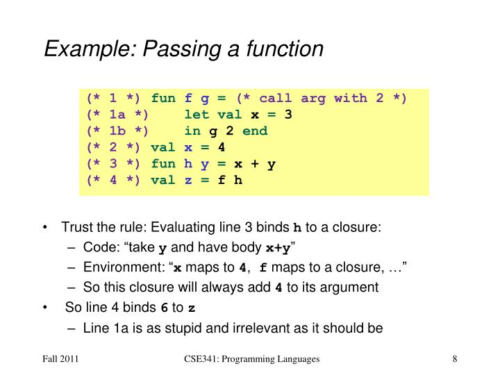 Example: Passing a function