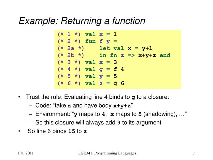 Example: Returning a function