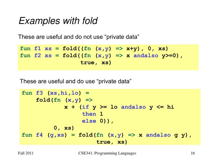 Examples with fold
