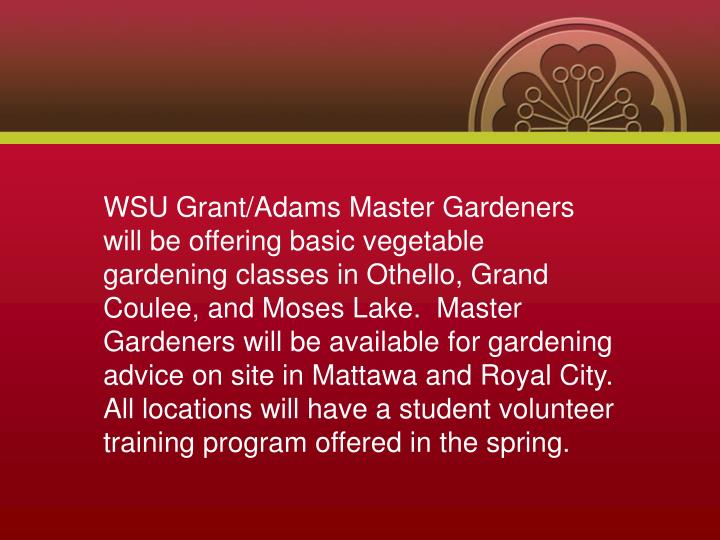 WSU Grant/Adams Master Gardeners will be offering basic vegetable gardening classes in Othello, Grand Coulee, and Moses Lake.  Master Gardeners will be available for gardening advice on site in Mattawa and Royal City.  All locations will have a student volunteer training program offered in the spring.