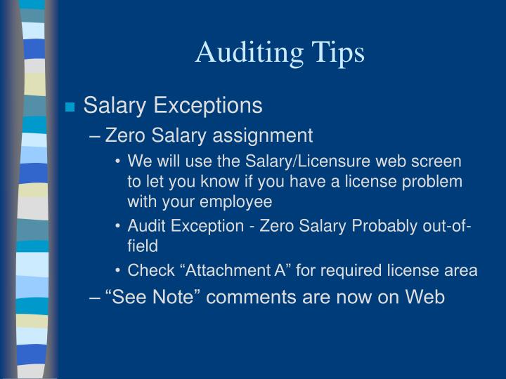 Auditing Tips