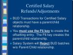 certified salary refunds adjustments
