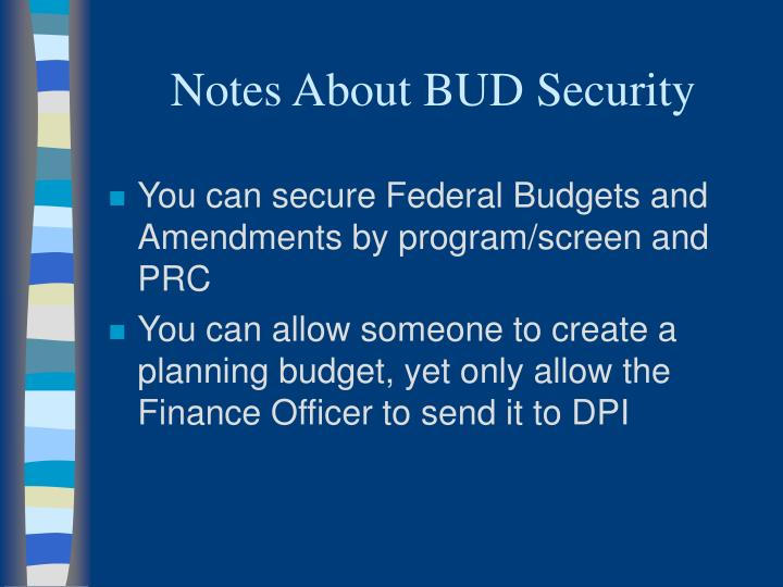 Notes About BUD Security