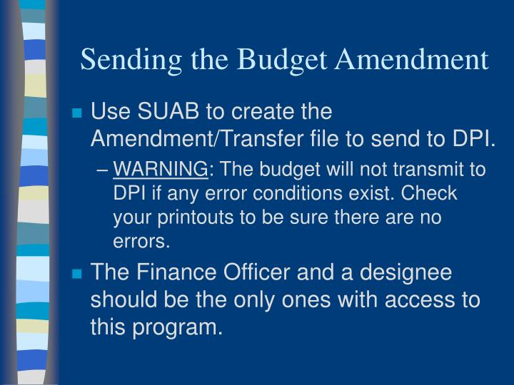 Sending the Budget Amendment