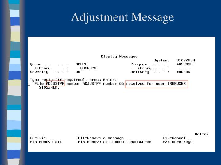 Adjustment Message