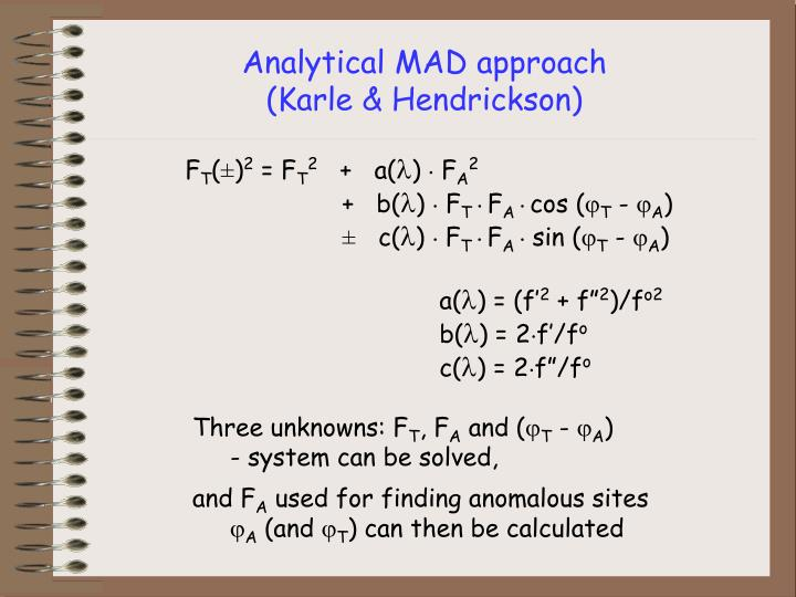 Analytical MAD approach