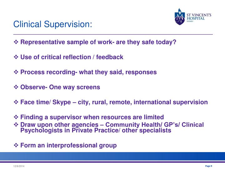 Clinical Supervision: