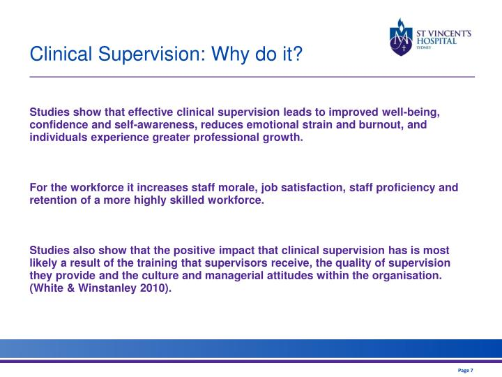 Clinical Supervision: Why do it?