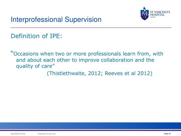 Interprofessional Supervision