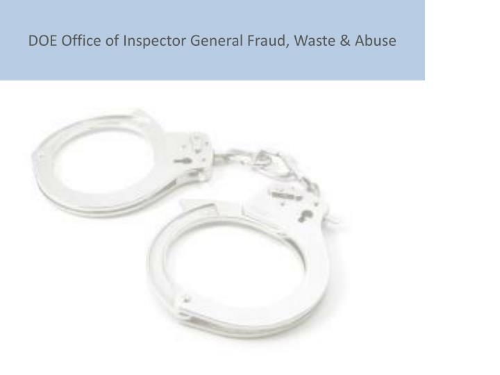 DOE Office of Inspector General Fraud, Waste & Abuse