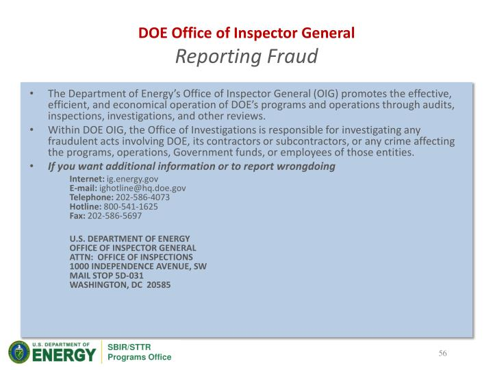 DOE Office of Inspector General