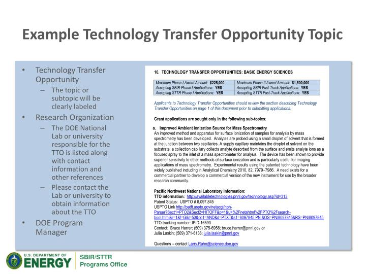 Example Technology Transfer Opportunity Topic