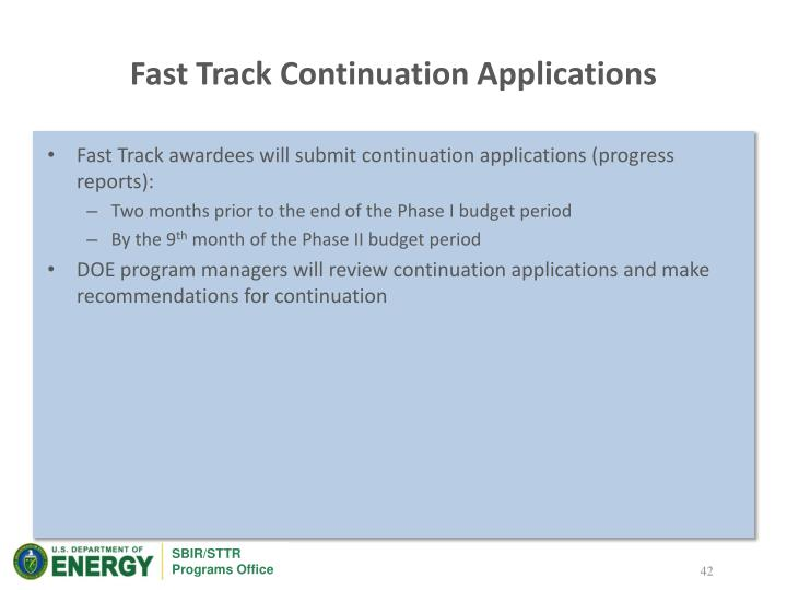Fast Track Continuation Applications