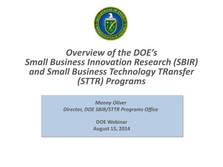 Overview of the DOE's