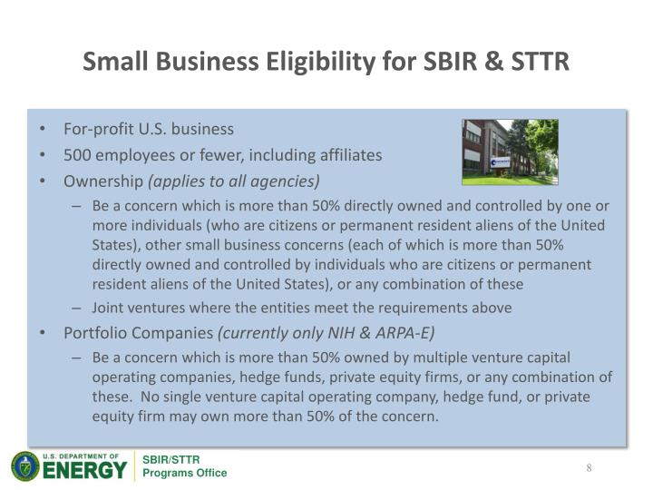 Small Business Eligibility for SBIR & STTR
