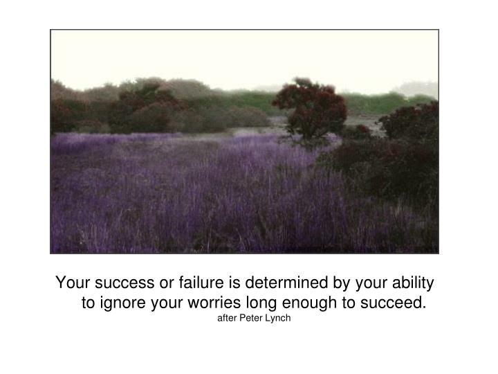 Your success or failure is determined by your ability