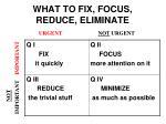 what to fix focus reduce eliminate