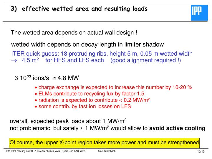 3)  effective wetted area and resulting loads