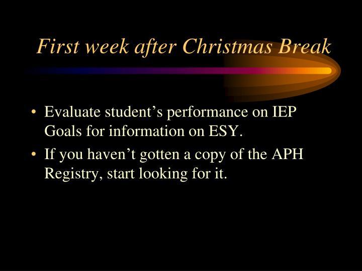 First week after Christmas Break