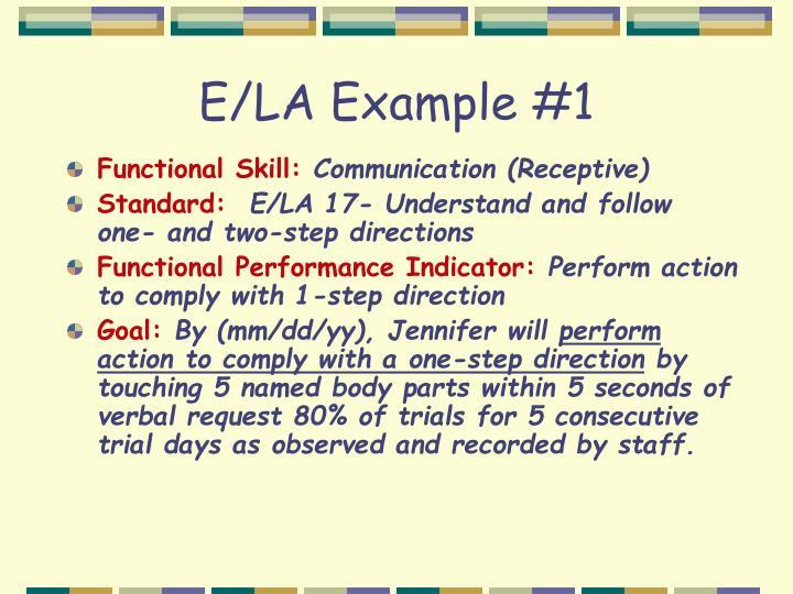 E/LA Example #1