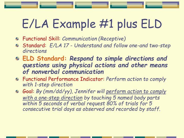 E/LA Example #1 plus ELD