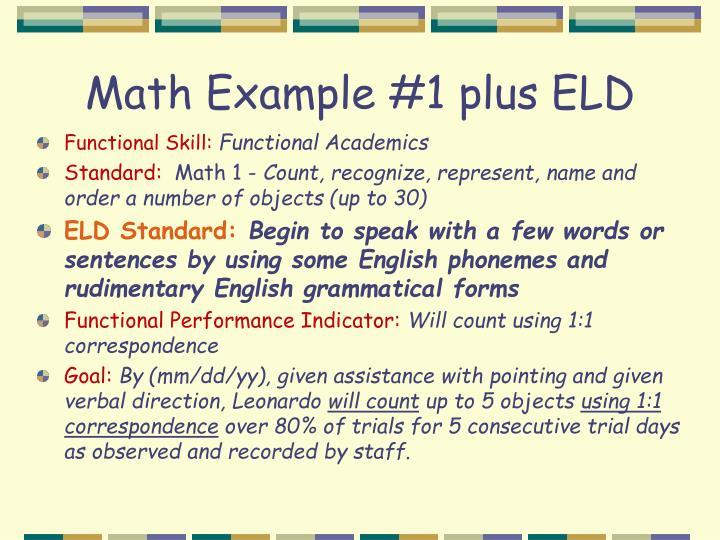 Math Example #1 plus ELD