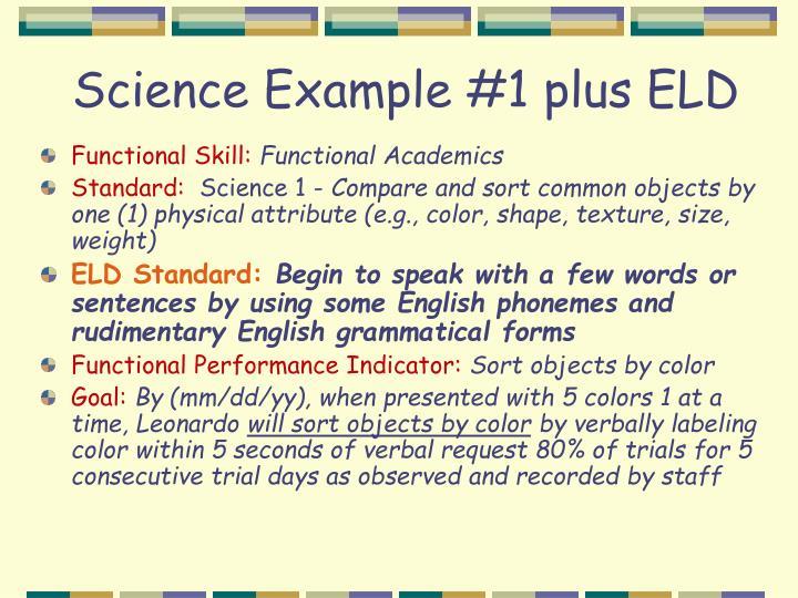 Science Example #1 plus ELD