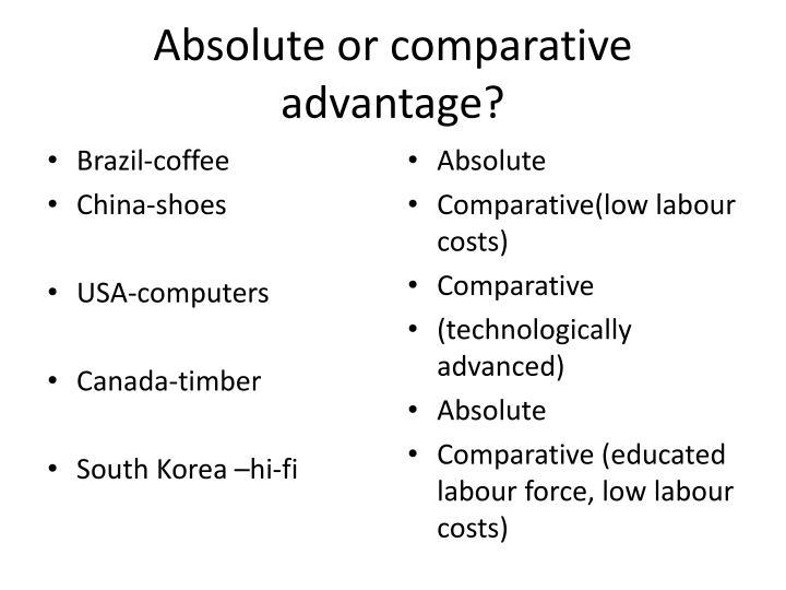 Absolute or comparative advantage?