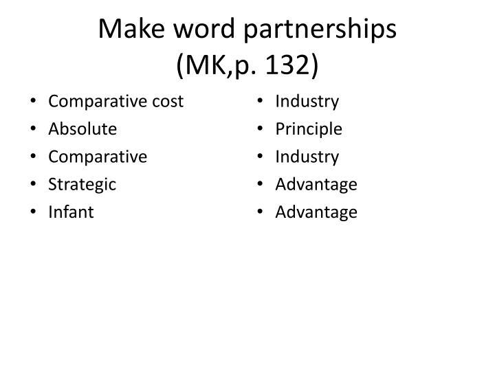 Make word partnerships