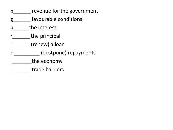 p______ revenue for the government