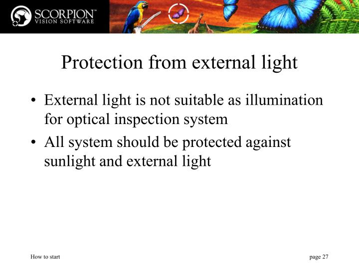 Protection from external light