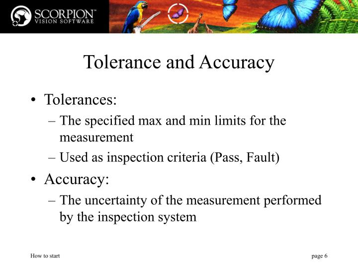 Tolerance and Accuracy