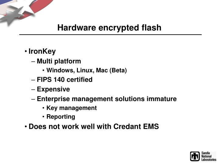 Hardware encrypted flash