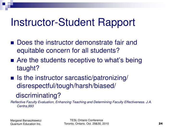Instructor-Student Rapport