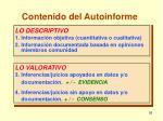 contenido del autoinforme