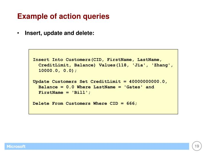 Example of action queries