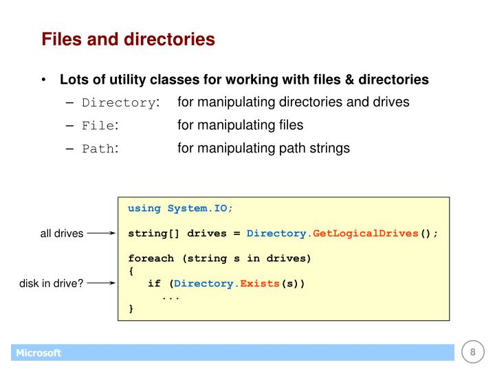 Files and directories