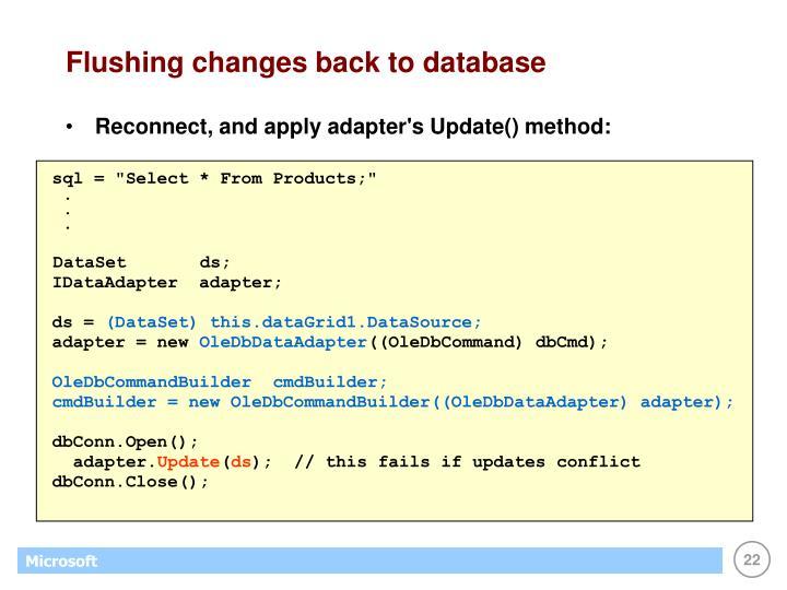 Flushing changes back to database