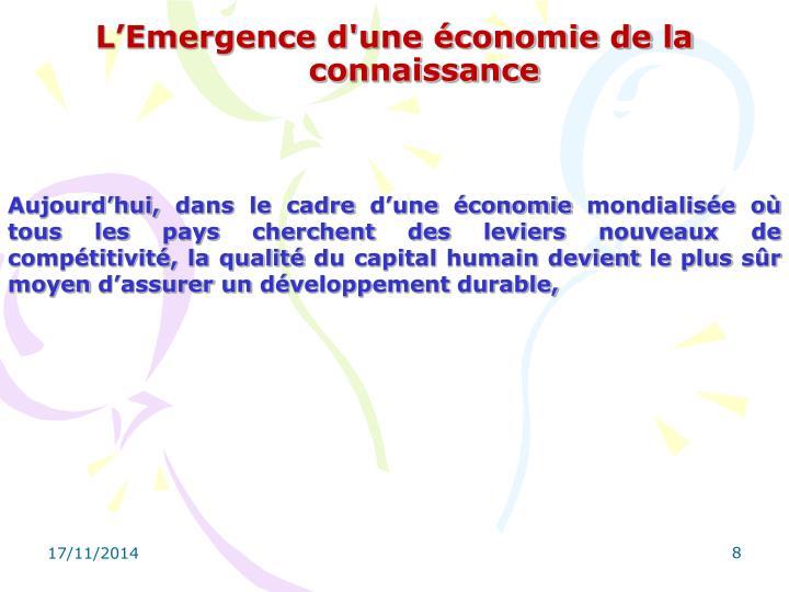 L'Emergence d'une économie de la connaissance