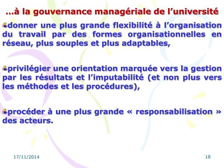 …à la gouvernance managériale de l'université