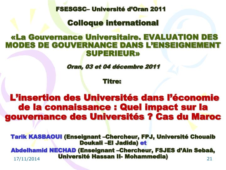 FSESGSC– Université d'Oran 2011
