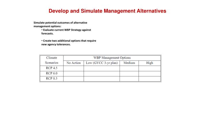 Develop and Simulate Management Alternatives