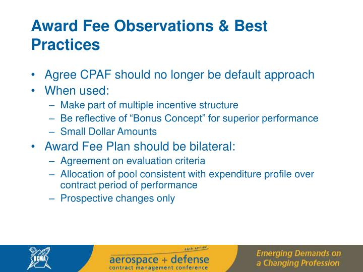 Award Fee Observations & Best Practices