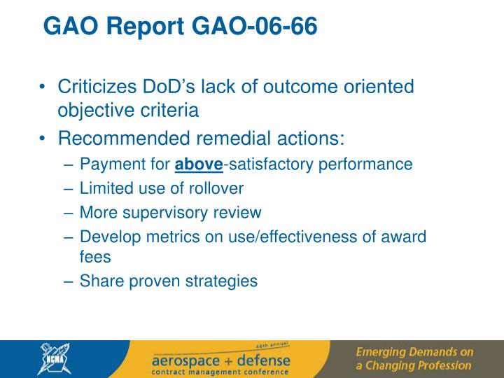 GAO Report GAO-06-66